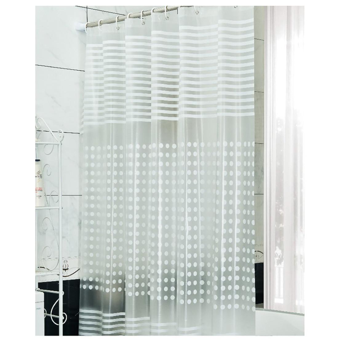 White Stripe Banyo Perdesi Pvc 180x200 cm