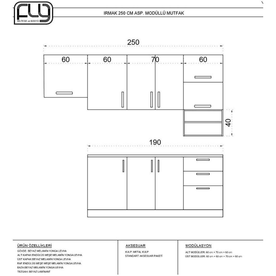 Irmak  Mutfak  Dolabı 250 cm