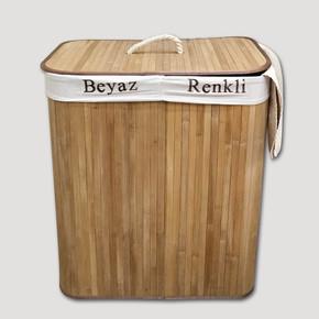 Bambu Katlanır Çift Hazneli Kirli Çamaşır Sepeti