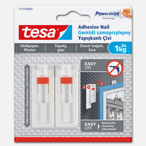 Tesa® İz bırakmadan Sökülebilir Yapışkanlı Askı - Çivi, Duvar ve Duvar Kağıdı için, 1 kg x 2 adet