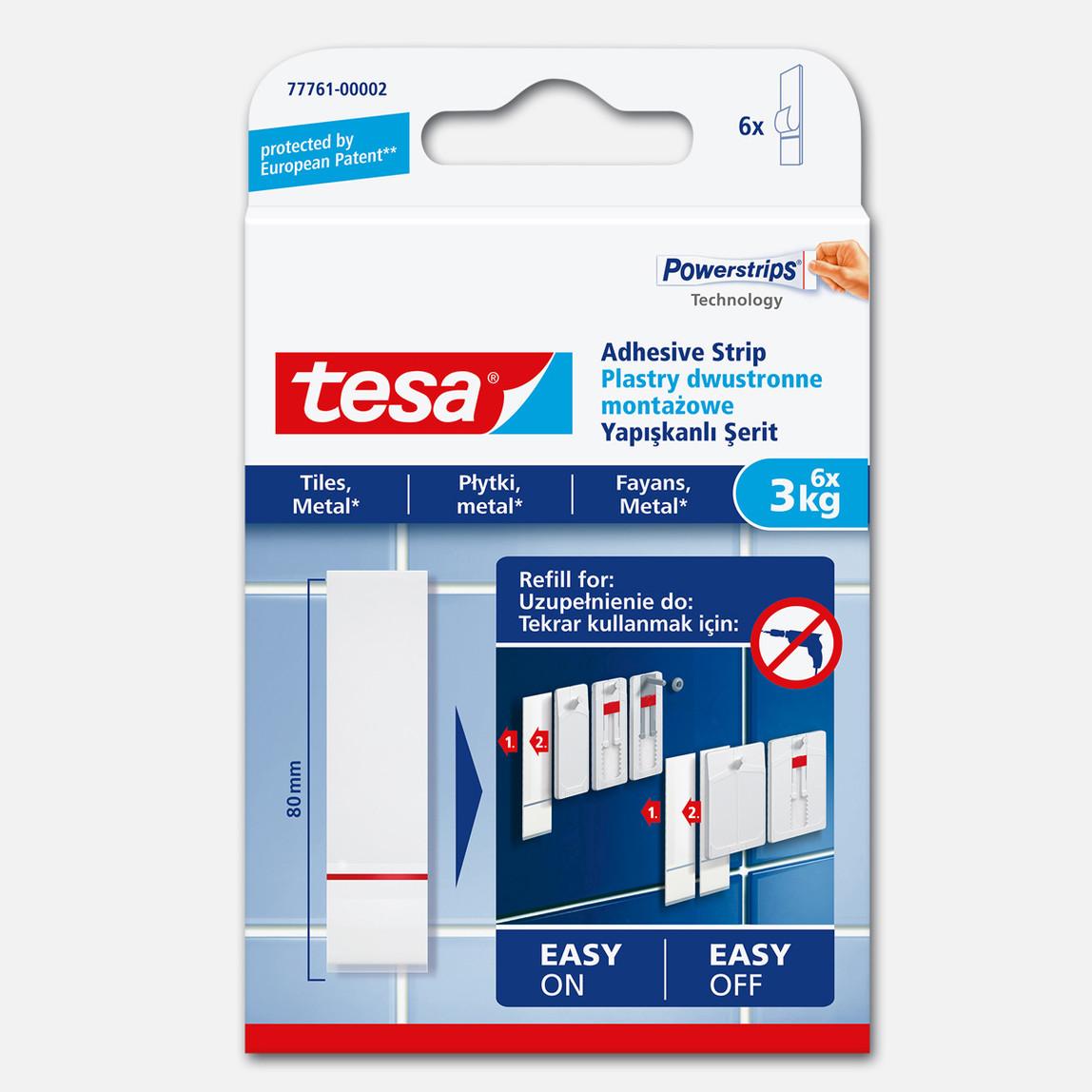 Tesa® İz Bırakmadan Sökülebilir Yapışkan Şerit Bantlar, Fayans ve Metal Yüzeyler için, 3 kg, 6 adet