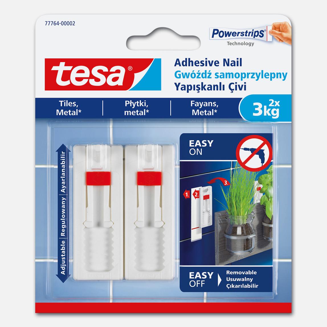 Tesa® İz Bırakmadan Sökülebilir Yapışkanlı Askı - Çivi, Fayans ve Metal Yüzeyler için3 kg, 2 adet