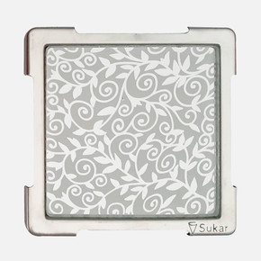 10x10cm Beyaz Desenli Cam Izgara
