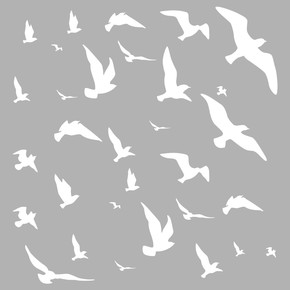 Uçan Kuşlar Stencil 30x30cm