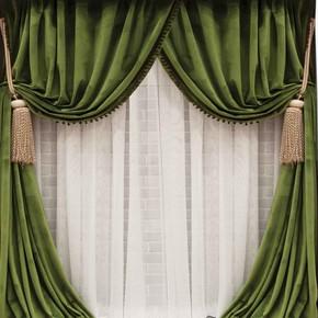 Kadife Fon Perde Ponponlu Yeşil 140x265 cm