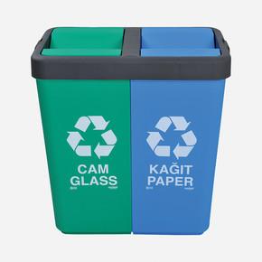 Geri Dönüşüm Çöp Kovası Cam - Kağıt