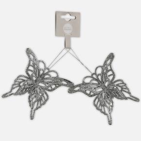 Yılbaşı Ağaç Süsü Kelebek 2'li Gümüş