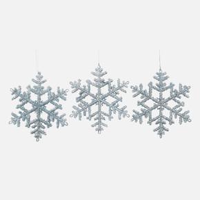 3'lü Yılbaşı Ağaç Süsü Yıldız Gümüş