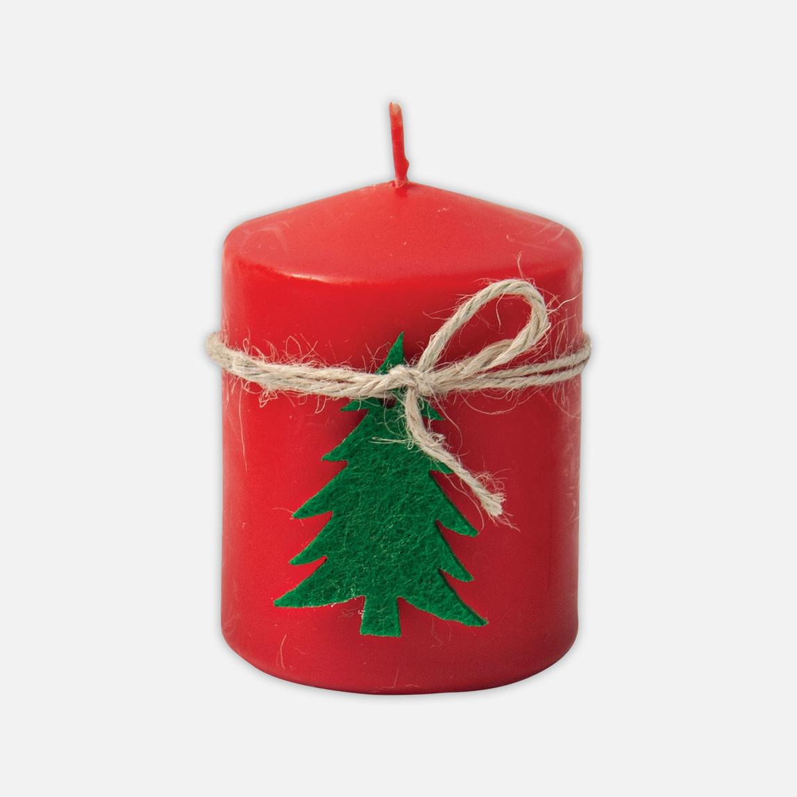 Çam Ağaçlı Kırmızı Mum
