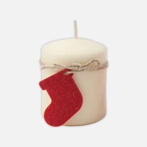 Yılbaşı Çoraplı Krem Mum