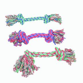 Flamingo 2 Düğümlü Renkli İp Köpek Oyuncağı 17cm