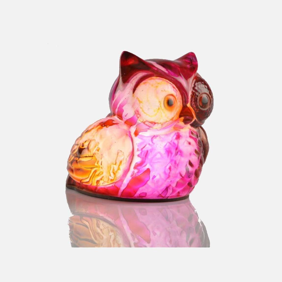 Dekoratif Ledli Lamba Baykuş Pembe