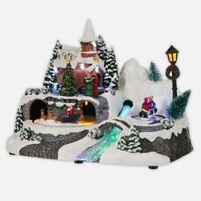 Dekoratif Yılbaşı Temalı Noel Babalı Köy Evi