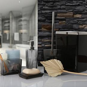 Biga Banyo Seti Şeffaf-Siyah