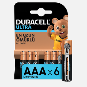 Duracell Ultra İnce Kalem Pil 6'Lı AAA