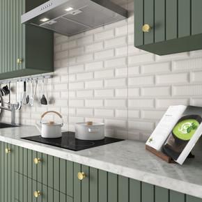 30X60Cm Zen Sırlı Tezgah Arası Beyaz Parlak 1Kutu=1,62 m²