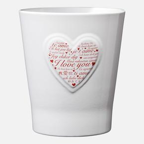 Lovely Hearts Kırmızı Kalp Beyaz Saksı