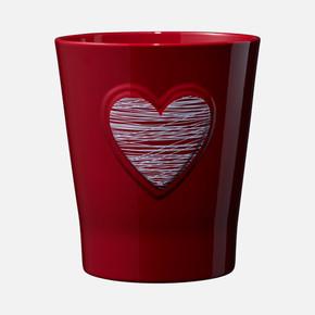 Lovely Hearts Beyaz Kalp Kırmızı Saksı