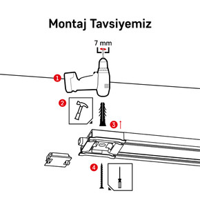 Korniş Aksesuar Montaj Seti - Beton