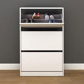 Flat Duo 3 Katlı Geniş Ayakkabılık Dolabı Beyaz