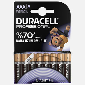 Duracell Professional Alkalin İnce Kalem Pil 8'Li AAA