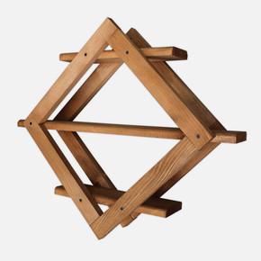 SZN Wood Prizma Ahşap Raf Ladin-Göknar Kendin Yap 59 x 50 x 13 cm SZN51-Teak