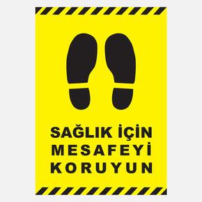 Ekstrafix 21X30 Pvc Uyarı Lev.Sağlık İçin Mesafe Sarı