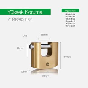 Yale 80mm Oval Kayar Pimli Pirinç Asma Kilit - Blister