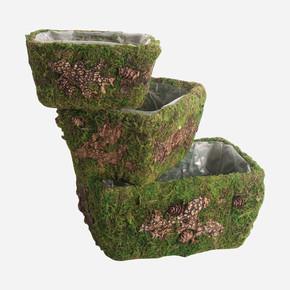 Dekoratif 3'lü Çim Saksı Yeşil