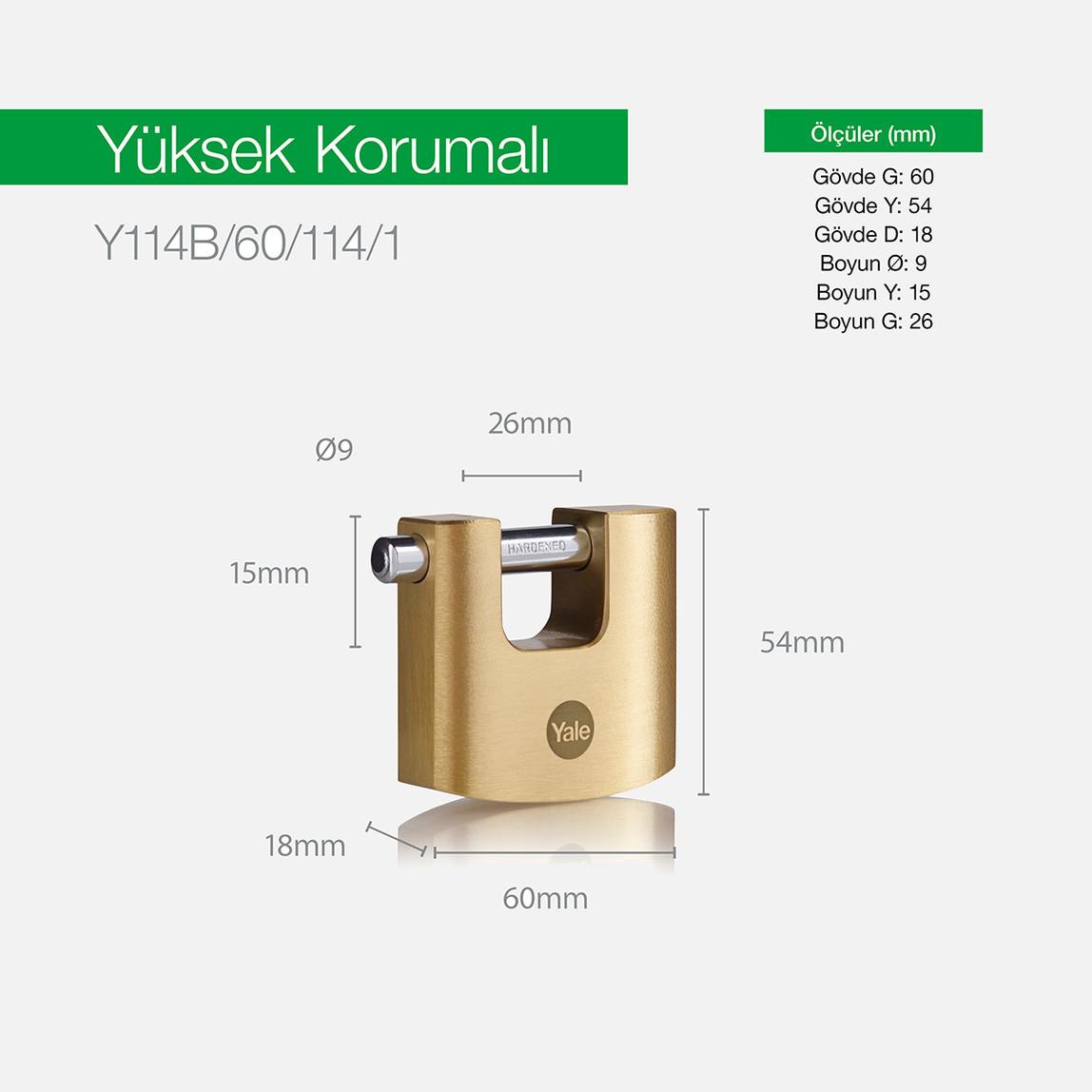 Yale 60 mm Oval Kayar Pimli Pirinç Asma Kilit  - Blister