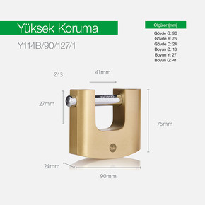 Yale 90mm Oval Kayar Pimli Pirinç Asma Kilit - Blister