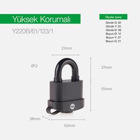 Yale 61mm PVC Kaplamalı Marine Asma Kilit - Blister