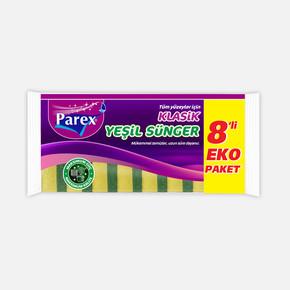 Parex Klasik Yeşil Düz Sünger 8'li Eko Paket