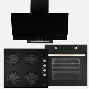 Siyah Cam 3'lü Ankastre Set