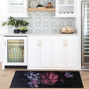 Cooky 50x125 cm Siyah Gül Mutfak Kilimi