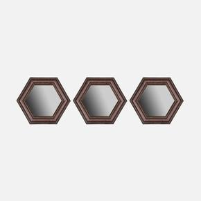 3'lü Deri Çerçeveli Altıgen Ayna 35x45