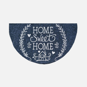 40x75 cm Home Sweet Home Gri Boyalı Yarım Ay Paspas