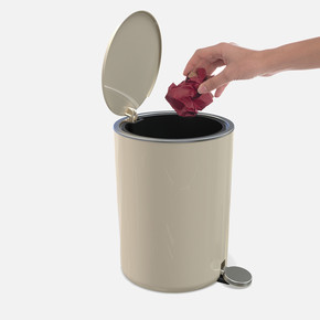 Lenox 5lt Pedallı Çöp Kovası Bej