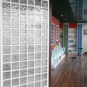 19x19x8 cm Çizgi Desenli Cam Tuğla