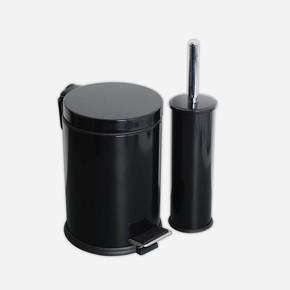 2li Banyo Seti Pedallı Çöp Kovası ve Wc Fırçası Siyah