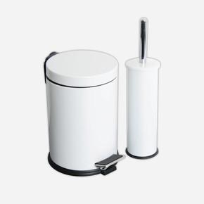 2li Banyo Seti Pedallı Çöp Kovası ve Wc Fırçası Beyaz