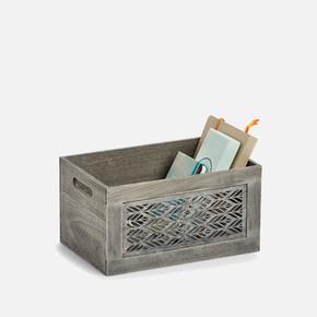Storage Box Leaves Grey 30x20x16cm