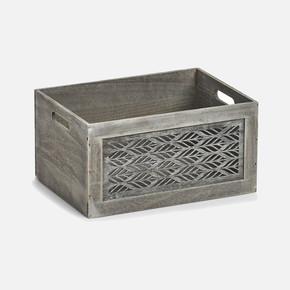 Storage Box Leaves Grey 35x25x18cm