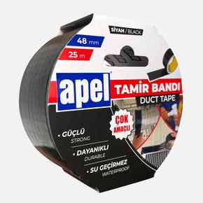 Apel Tamir Bandı (Duct Tape) Askılı Karton 48mm X 25m Siyah