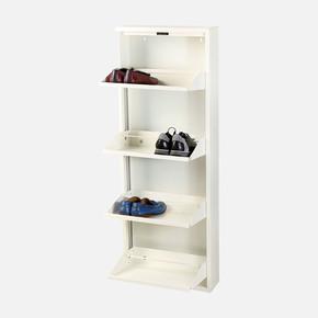 4'Lü Metal Ayakkabılık Beyaz