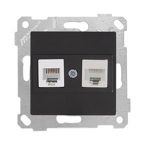 Rita Mekanizmalı Tuş Telefon Data Priz (Rj12 Cat5E) Siyah