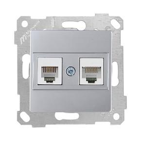 Rita Mekanizmalı Tuş Telefon Data Priz (Rj12 Cat5E) İnox