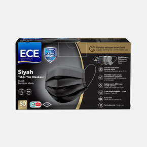 ETZ-490 50'li Full Ultrasonik Meltblownlu Tıbbi Maske Siyah