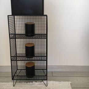 Metal Ayaklı Raf 3 Gözlü Siyah 40x20x80H cm