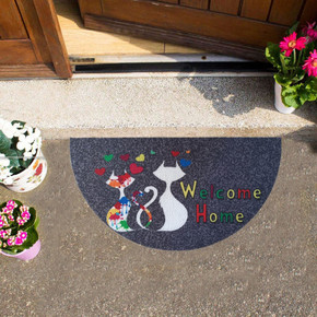 Megan Kapı Paspası Yarımay Gri İki Kedi